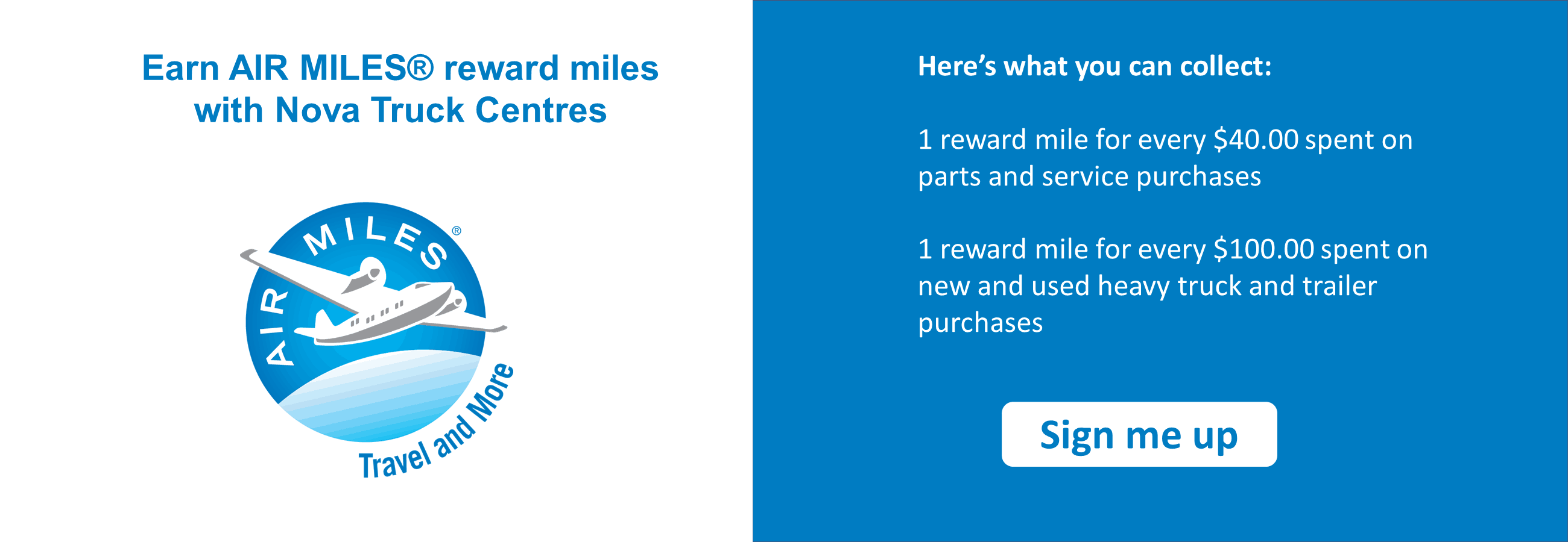 earn airmiles reward miles on parts & service & Sales