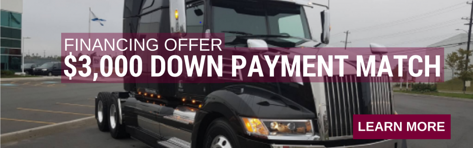 get up to $3,000 down payment match with Daimler Truck Financial *